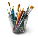 Brushes in glass icon png